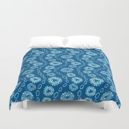 Wavy Toothy Flowers > Blue Duvet Cover