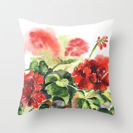 plant geranium, flowers and leaves, watercolor Throw Pillow