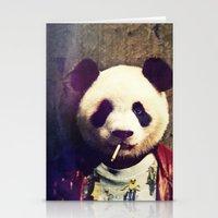 tyler durden Stationery Cards featuring Panda Durden by rubbishmonkey