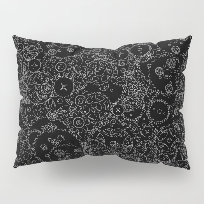 Clockwork B&W inverted / Cogs and clockwork parts lineart pattern Pillow Sham