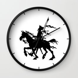 Don Quixote of La Mancha and Rocinante | Don Quixote Silhouette | Black and White | Wall Clock