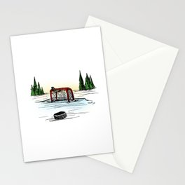 Pond hockey. Stationery Cards