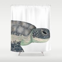 sea turtle Shower Curtains featuring Sea Turtle by Raffles Bizarre