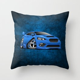 Import Sports Sedan Cartoon Illustration Throw Pillow