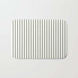 Wheelbarrow Grey Pinstripe on White Bath Mat