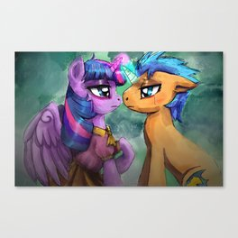 Twilight Sparkle and Flash Sentry are helpless by the river Canvas Print