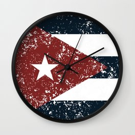 Old scratched Cuban flag Wall Clock