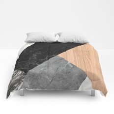 Marble and Wood Abstract Comforters