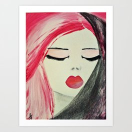 Shy Girl. Abstract Pink Girl. Pink Lips. Pink Hair. Jodilynpaintings. Eyelashes. Gift for All Girls. Art Print