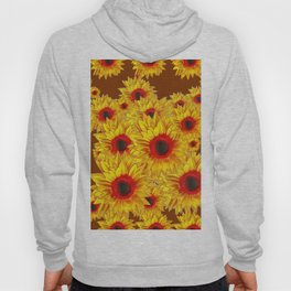 Coffee Brown & Red Centered Yellow Sunflowers Hoody