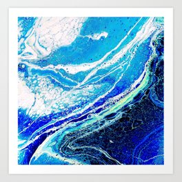 WINTER BLUE FLUIDART Art Print