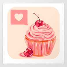 Cherry Heart Cupcake Art Print