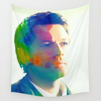 castiel Wall Tapestries featuring Castiel  by mishainmydreams