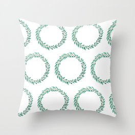 Green Wreath Throw Pillow