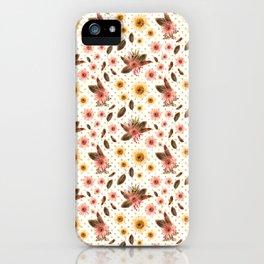 Beautiful Australian Native Flowers on Gold Polka Dots iPhone Case