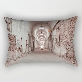 Crimson Prison Corridor Rectangular Pillow