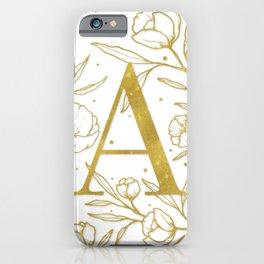 Letter A Gold Monogram / Initial Botanical Illustration iPhone Case