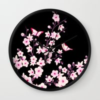 cherry blossoms Wall Clocks featuring Cherry Blossoms by Nina Baydur