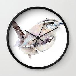 Watercolor Wren Painting Wall Clock
