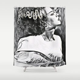 The Bride In Pen And Ink Shower Curtain