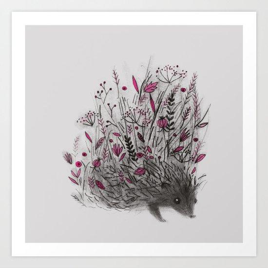HEDGEHOG (grey) Art Print