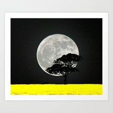 Lone Tree And Moon. Art Print