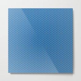 Goyard Pattern Blue Metal Print