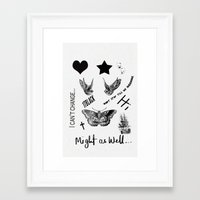 tattoos Framed Art Prints featuring Tattoos by Alexbookpages