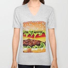 Hamburger burger sandwich cooked patties bread roll bun Unisex V-Neck