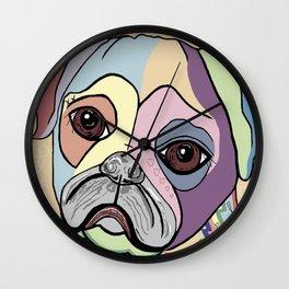 PUG in DENIM Tones Wall Clock