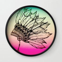 Native American Spiritual Feather Headdress Wall Clock