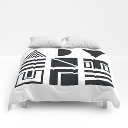 Geometric Adventure B&W Comforters