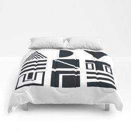 Geometric Adventure B&W Comforters