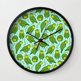 Kakapo Pattern Wall Clock