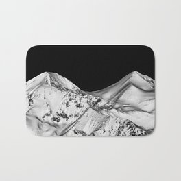 Two Peaks Black and White Abstract Landscape Bath Mat