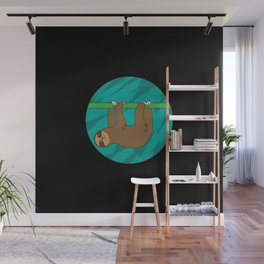 Sloth hanging from bamboo Wall Mural
