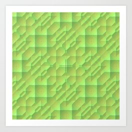 Green/Tan Pattern with a Raised Appearance Art Print