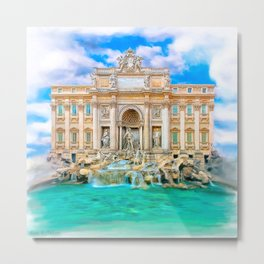 La Dolce Vita - Rome's Trevi Fountain Metal Print