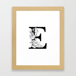 E botanical monogram. Letter initial with peonies and roses Framed Art Print