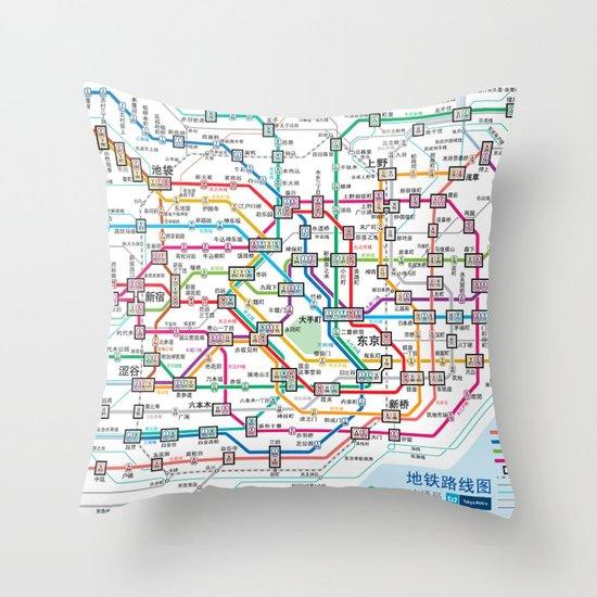 Tokyo Subway Map Throw Pillow