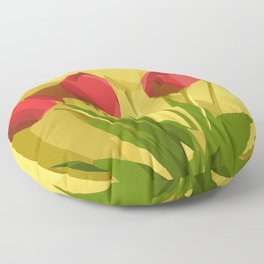 red flowers with green leaves and yellow background Floor Pillow