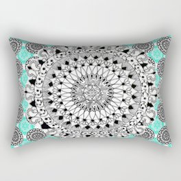 Black and Teal Patterned Mandalas Rectangular Pillow