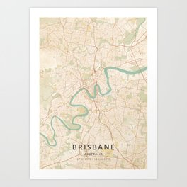 Brisbane, Australia - Vintage Map Art Print