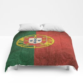 Old and Worn Distressed Vintage Flag of Portugal Comforters