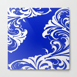 Damask Blue and White Metal Print