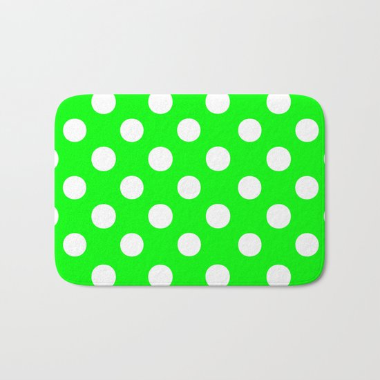 Polka Dots (White/Green) Bath Mat