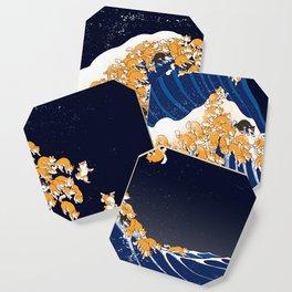 Shiba Inu The Great Wave in Night Coaster