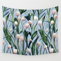 tulip Wall Tapestries featuring Waiting on the Blooming - a Tulip Pattern by micklyn