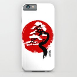 Japanese flag with bonsai iPhone Case