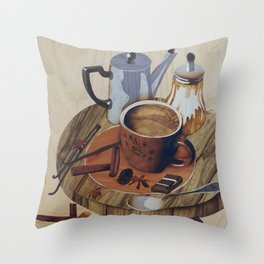 Coffee still life wood marquetry picture Throw Pillow
